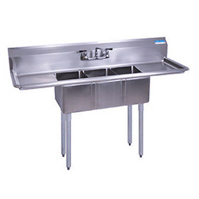 "Stainless Steel 3 Compartment Sink 60"" x 20"" with 2 Drainboards with Faucet"
