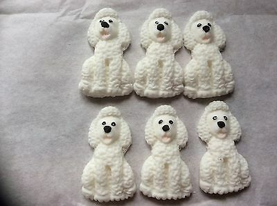 Edible sugar paste poodle dogs  cup cake toppers 6/12/24