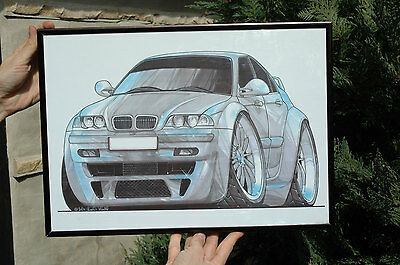 BMW Car Painting Picture or Art Print 2002 Signed