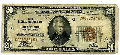 1929 $20 Twenty Dollar Bill National Currency Brown Seal Note - Philadelphia, PA