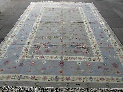 Old Traditional Turkish Oriental Hand Made Grey Blue Wool Large Kilim 360x268cm