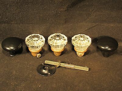 Lot Of Glass & Black Porcelain Door Knobs