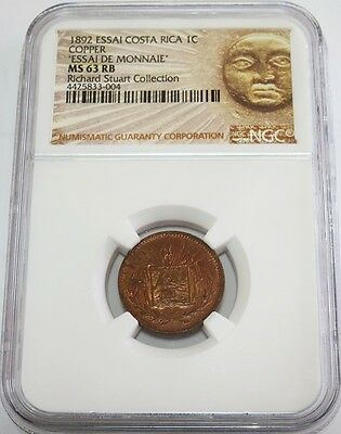 1892 Costa Rica Centavo Essai Pattern Ngc Mint State 63 Rb Stuart Collection