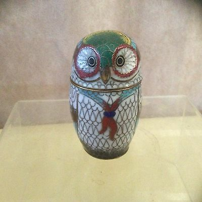 A Chinese Oriental Minature Cloisonne Owl Storage Jar.