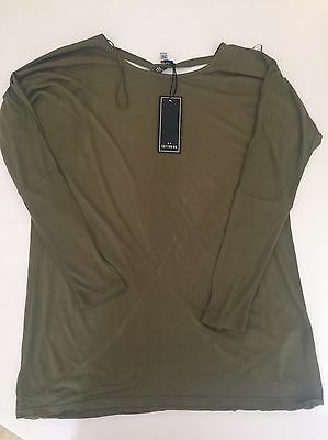 Cotton On Khaki Green Open Back Long Sleeve Top Size S 10-12