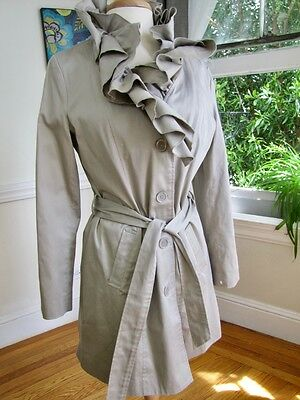 Women's Cotton Lined Ruffle Trench Coat Lightweight Jacket by Appraisal  (M)