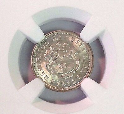 1912 (P) GCR COSTA RICA 5 CENTIMOS silver, low mintage, MS-66 NGC, only 8 higher
