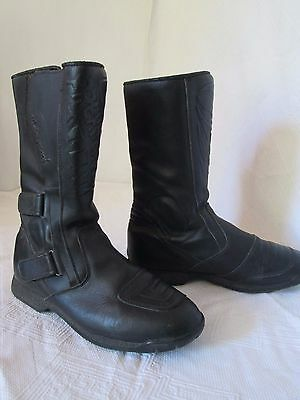 Prexsport Black Leather Motorcycle Touring Boots Size Eu 44