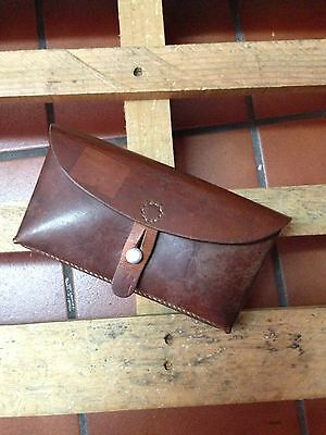 1966 Swiss Army MIlitary Belt 1 Compartment Leather Ammo Cartridge Pouch Vintage