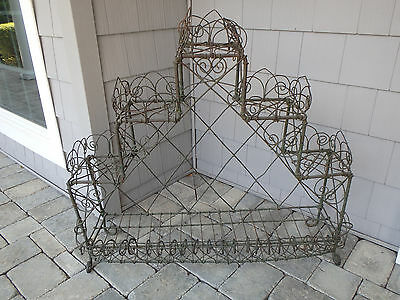 Antique Authentic Victorian Era Tiered French Wire Garden Plant Stand