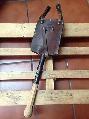 1940 Swiss Army Shovel Military Old Antique + Leather Case Vintage