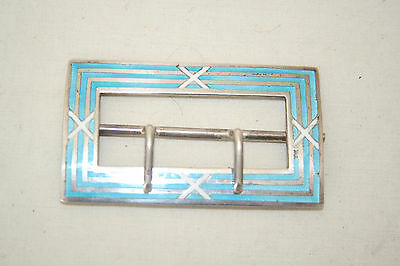Levi and Salaman silver and Guilloche enamel buckle Birmingham 1909