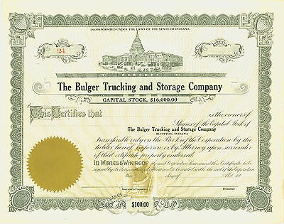 Vintage Stock Certificate-  The Bulger Trucking and Storage Company