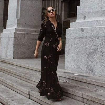 Zara Black Floral Print Long  Dress Bnwt Size  M