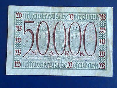 Germany - 50 000 Mark  Banknote 1923- Stutgart-Inflation - Very Fine