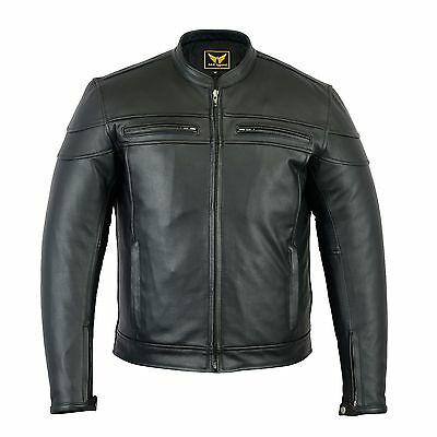 Mens Leather Motorcycle Jacket Genuine Soft Leather Heavy Duty Protective Jacket