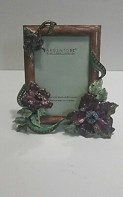 "Argento Sc 4""x 6"" Swarovsky Crystals Enameled Flowers Picture Frame"