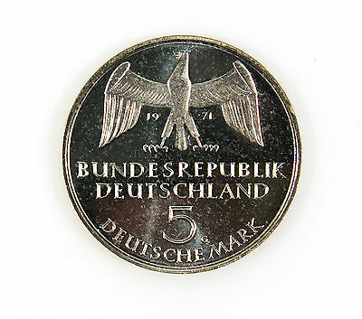 Germany 5 Mark 1971G Silver Proof Unification