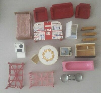 70s doll house furniture bundle - doll house accessories lot