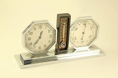 Antique French Art Deco Lancel Brevete 8 Day Clock Barometer Thermometer Combo