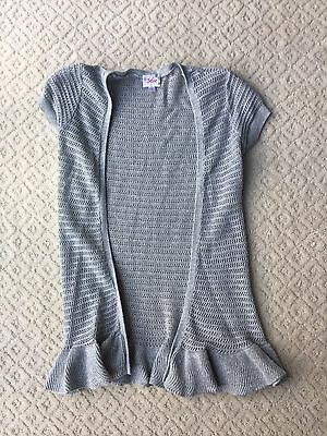Justice Girl's Open Front Short Sleeved Cardigan Silver Size 10 EUC