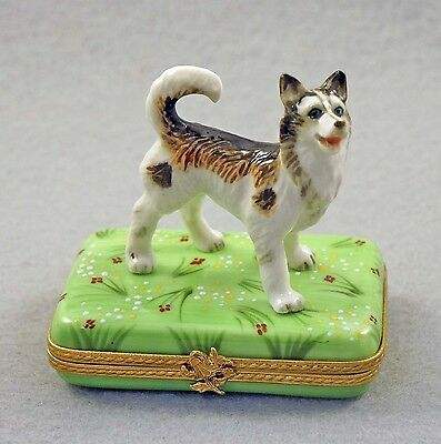 New French Limoges Trinket Box Alaskan Malamute Husky Dog Puppy On Green Lawn