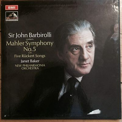 ASD 2518-9 Mahler Symphony No. 5 / Five Ruckert Songs / Barbirolli 2 LP box 1st
