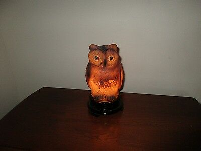 Antique Early 20th C Tiffin Glass Owl Table Lamp w/ Original Glass Base 1920's