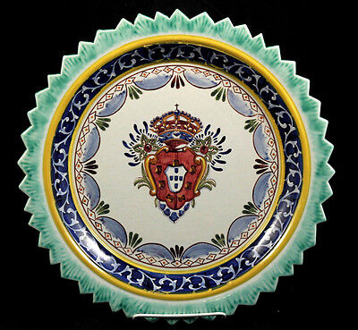 Portuguese Ceramic Hanging Dish European Pottery Collectible Decorative Handmade
