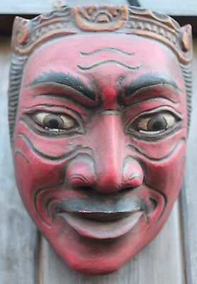 Balinese Hand Carved Old Dalem (King Raja) Dance Theatre Mask In Good Condition