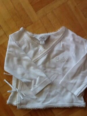 Bebe By Minihaha Baby Jacket White With Taupe  Size 00 6-9 Mth Baby Boy Or Girl