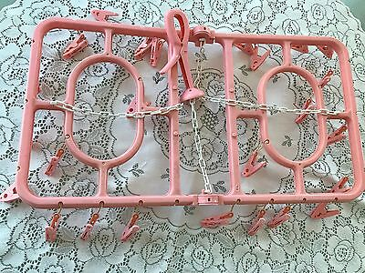 Pink Shabby Cottage Chic Kitschy Clothes Pin Clothespin Hanger Trailer Vintage