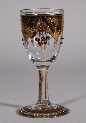 Moser Hand Painted Jeweled Cordial