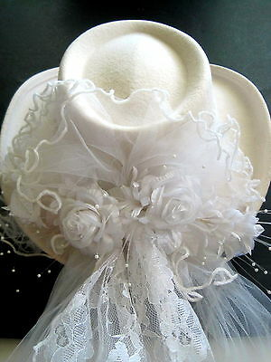 NEW Western Cowgirl Wedding Hat & Veil by Bridal Opulence Country Bachelorette
