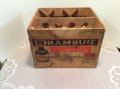 Old DRAMBUIE Scotch Whisky Wood Crate, Vintage Complete Liquor Wooden Original