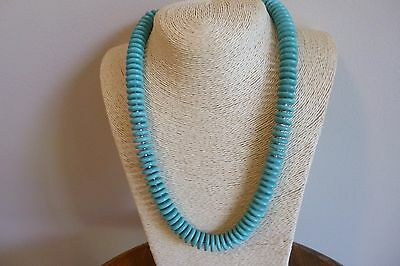 Beautiful Turquoise Heishi Bead And Silver Native American Navajo Style Necklace
