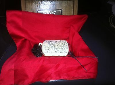 Japanese Bone Inro with Ebony Netsuke in Blackwood and Mother of Pearl Inlay Box