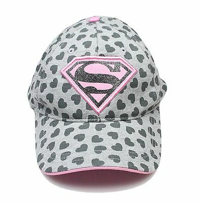 Superman Logo Pink & Gray Child Girl Baseball Cap Hat Adjustable New without Tag