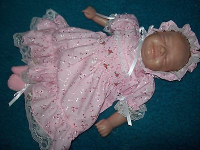 Reborn dolls clothes  PINK BRODERIE ANGLAISE DRESS SET 17-18 inches