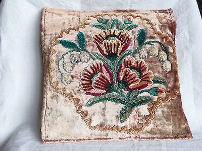 antique velvet embroidered pillow cover, handworked chenille floral, rayon floss