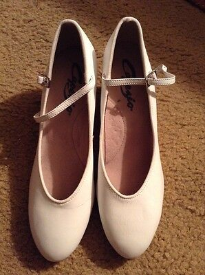 "Capezio Character Shoes Dance White 650 Footlight 1.5"" Size 10 W"