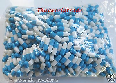 1000 Empty Gelatin Capsules Size 0 Colored White Blue Kosher Gel Caps Free Ship