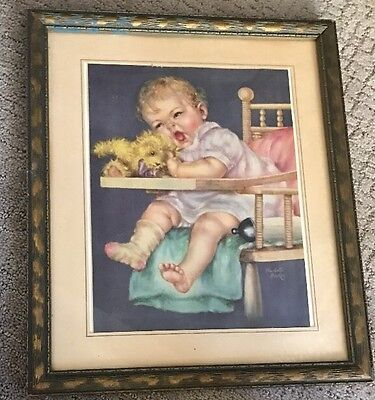 Vintage 1930 Print Charlotte Becker Yawning Baby in High Chair Antique Frame