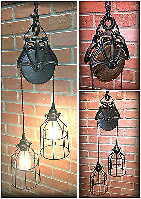 HuGe Sale! Cast Iron Wood Barn Pulley Light - Black Cage Shades - Industrial