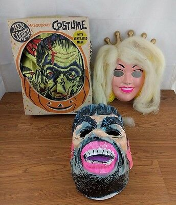 VTG Halloween Mermaid - Caveman Mask & Ben Cooper Frankenstein Costume Vacuform
