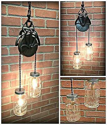 Cool Cast Iron and Wood Barn Pulley Light - Vintage Mason Jars