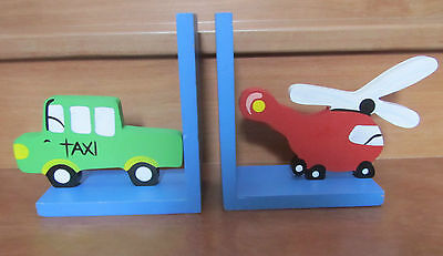 Childrens/ Kids Wooden Bookends - Taxi & Helicopter - Baby/Nursery (Treehouse)
