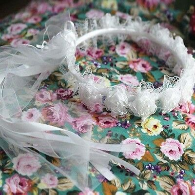 Hot Sale Flower Garland Kid's Rose Ribbon Lace Headpiece Garland Wedding Tiara