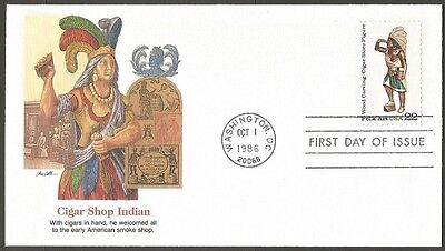 Us Fdc 1986 Wood Carving-Cigar Shop Indian Folk Art 22C Stamp First Day Cover