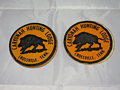 Lot of 2 Vtg Caryonah Hunting Lodge Crossville,TN Wild Boar Patch Patches